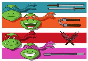 Vetores de bandeira de tartaruga ninja