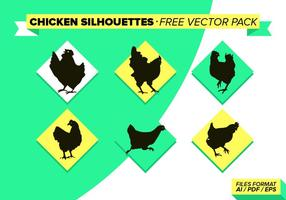 Poulet Slihouettes Free Vector Pack