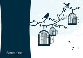 Birds on Branch with Birdcage Vector