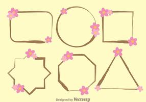 Frame With Sakura Flower Template Vectors
