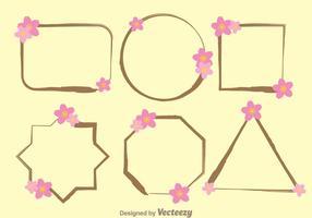 Cadre avec les vecteurs de modèle de fleur de Sakura