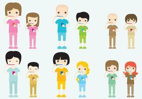Personajes cepillado de los dientes vectores