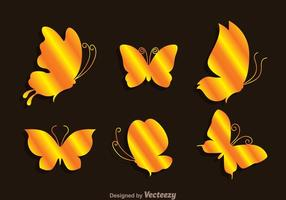 Gold Butterflies Icons vector
