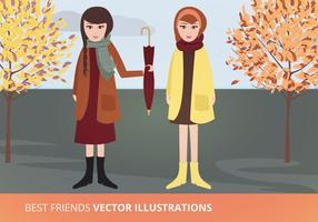 Best Friends Vector Illustration