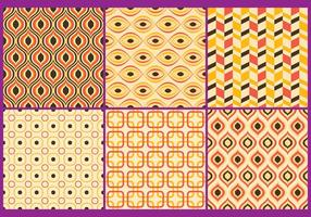 Retro Yellow & Coral Patterns vector