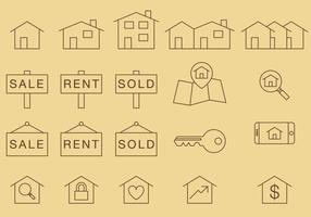 Home Thin Icons vector