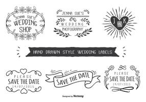 Etiquetas engomadas dibujadas mano de la boda del estilo