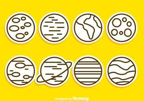 Planet Outline Icons vector