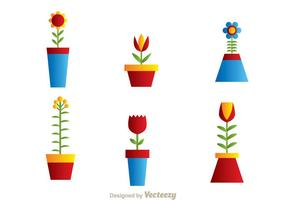 Beautiful Flowers In A Pot vector