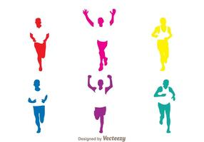 Colorful Running Silhouette vector