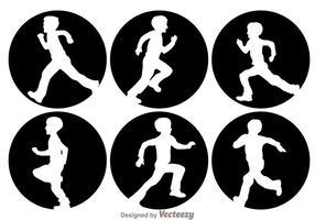 Niños corriendo silueta
