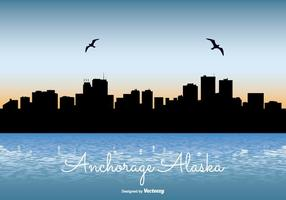Anchorage Alaska Skyline Illustratie