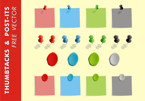 Thumb Tacks & Post-Its Free Vector