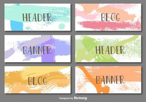 Hand painted banners vector