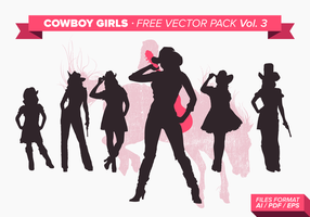 Cowboy Girls Silhouette Gratis Vector Pack Vol. 3
