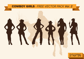 Cowboy Girls Silhouette Gratis Vector Pack Vol. 2