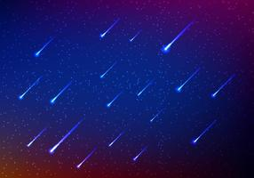 Meteor shower in sky