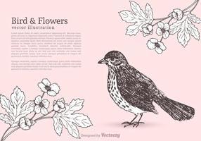 Gratis fågel och blommor vektor