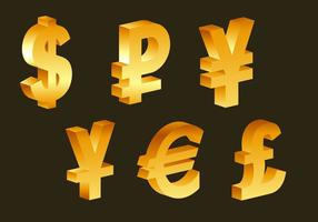 3d golden currency symbols