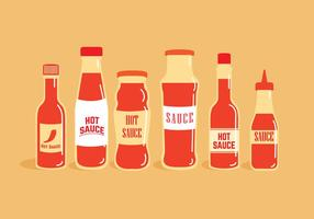 Hot Sauce Flaschen Vektoren