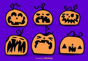 Halloween cartoon pumpkins