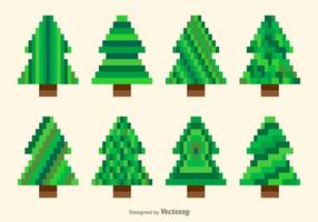 Pixel green trees vector