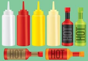 Sauce And Condiment Bottles vector