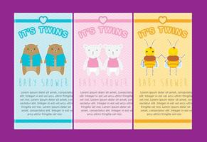 Twin Babies Invitations vector