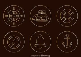 Nautical Tin Outline Icons vector