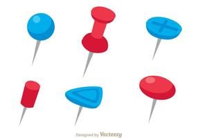Rode en Blauwe Push Pin Vectors