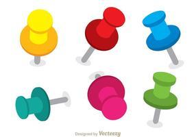 Vectores coloridos del Pin del empuje