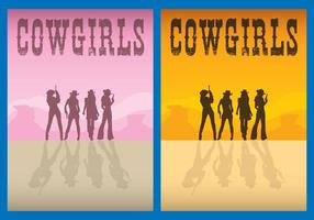 Cowgirls Flyer Vectors