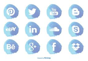Akvarellstil Social Media Icon Set