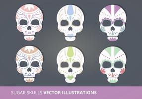 Ilustraciones del vector de los cráneos del azúcar