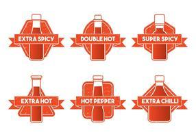 Vector illustratie van hete sausfles Embleem