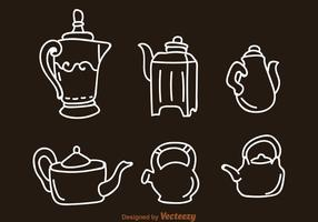 Arabic Coffee Pot And Kettle Icons vector