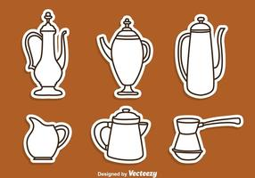 Arabic Coffee Pot Line Icons