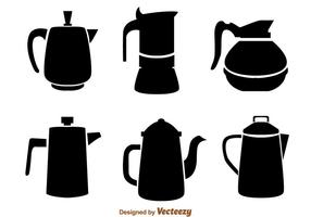 Coffee Pot Black Icons vector