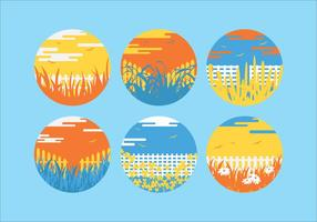 Colorful Grass Scene Vectors