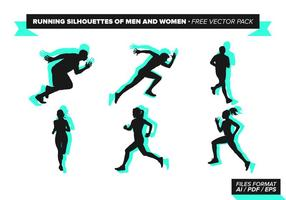 Laufen Silhouetten von Männern und Frauen Free Vector Pack