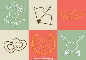 Iconos de la línea de días de San Valentín