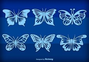 Blue hand drawn butterflies