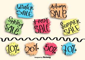 Hand drawn sale labels vector