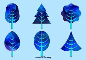 Árvores azuis de aquarela