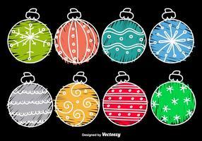 Handdragen tecknad julkulor