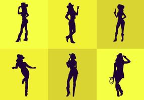 Silhouette cow-girl
