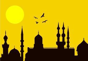 Eid al-fitr stadssilhouet