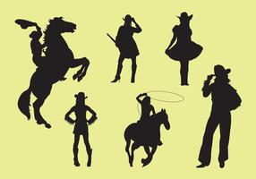 Vector-illustration-of-cowgirl-silhouettes