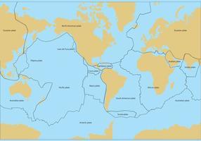 Vector de mapa de placas tectônicas