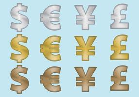 Símbolos de moneda de aluminio vector